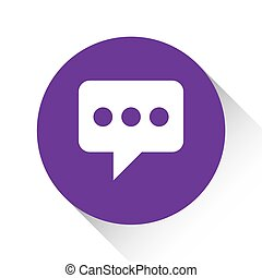 Purple Icon Isolated on a White Background - Speech Bubble with Dots