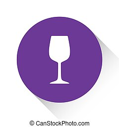 Purple Icon Isolated on a White Background - Wine Glass