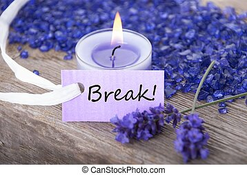 label with break - a purple label with break on it with ...