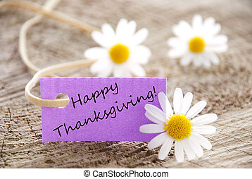 Purple Label with Happy Thanksgiving