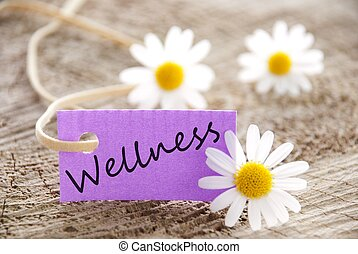 label with wellness - a purple label with wellness on it and...