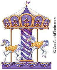 A purple merry-go-round ride