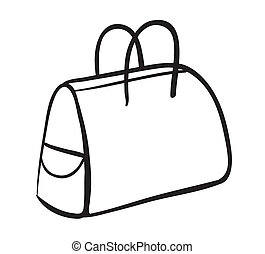 a purse sketch - illustration of a purse on a white...