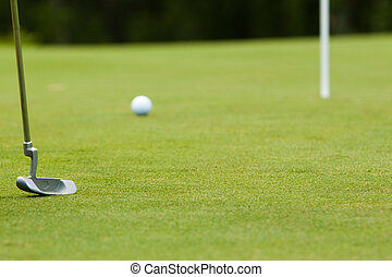 a putter and golf ball on the green