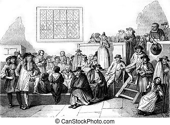 A Quaker meeting in the eighteenth century, vintage...