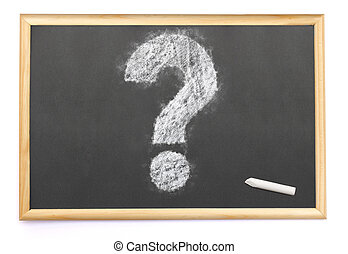 a question mark drawn on a blackboard with chalk.(series)