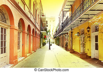 New Orleans French Quarter - A quiet pedestrian street in...