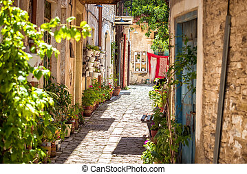 A quiet street in an old village of Pano Lefkara. Larnaca District, Cyprus