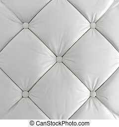 A quilted soft leather white panelwitch button . 3d rendering