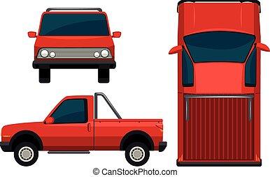 a, röd, fordon