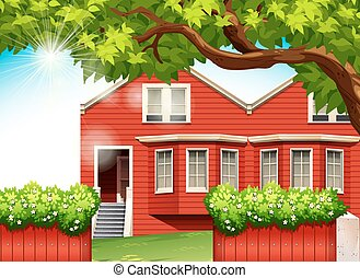 a, röd, hus
