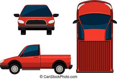 a, röd transportera