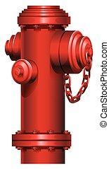 a, röd, vattenpost