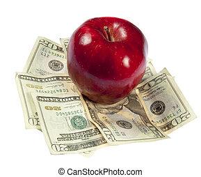a, rött äpple, sitt, på topp om, a, hög, av, $20,...