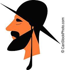 A rabbi teacher of Torah in Judaism religion vector color...