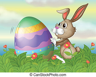 A rabbit and a large egg in the garden