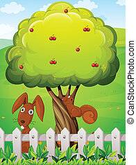 A rabbit and a squirrel playing under the cherry tree - ...