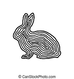 A rabbit illustration icon in black offset line. Fingerprint style for logo or background.