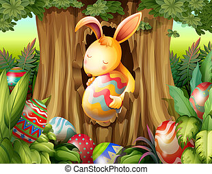 A rabbit inside the hole of a tree surrounded with eggs