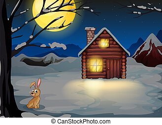 A rabbit outside the house in a moonlight scenery
