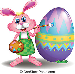 A rabbit painting the easter egg - Illustration of a rabbit...