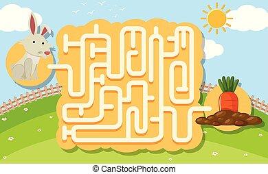 A rabbit puzzle maze game