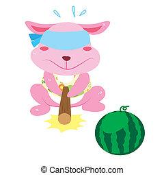 a rabbit's beach activities - a cute rabbit is playing a ...