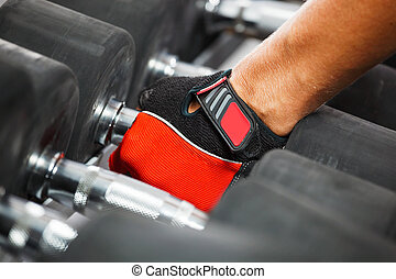 A rack with metal dumbbells in gym.
