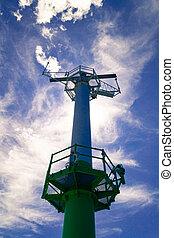 A radar installation for navigation in the Hel harbor, Poland