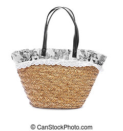 a raffia shopping bag on a white background