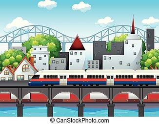 A rail in city scene