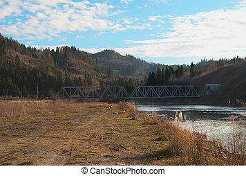 railway bridge - a railway bridge in mountains