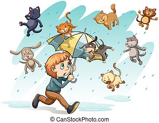 A rain with cats and dogs - An idiom showing a rain with...