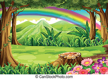 A rainbow and a forest - Illustration of a rainbow and a...