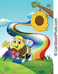 A rainbow at the hilltop with a bee and a beehive