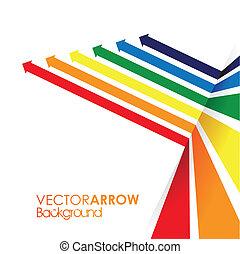 a rainbow coloured arrow line perspective background
