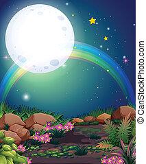 A rainbow during nighttime - Illustration of a rainbow...