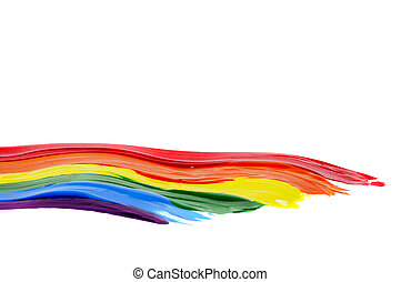 a rainbow flag painted on a white background