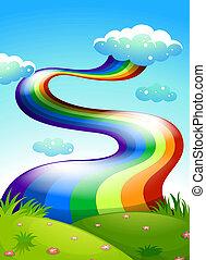 A rainbow in the clear blue sky - Illustration of a rainbow ...