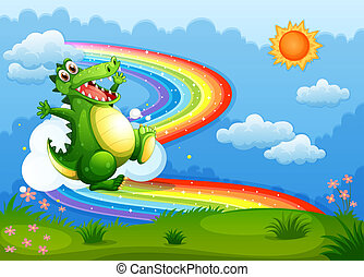 A rainbow in the sky with a green crocodile