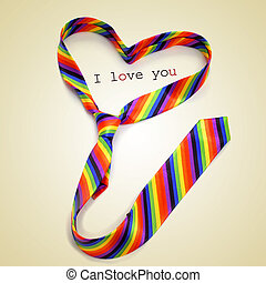 a rainbow necktie forming a heart and the text I love you, with