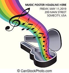 A rainbow of music flows from a guitar case