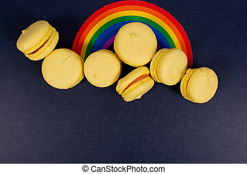 a rainbow on a blue background, a layout