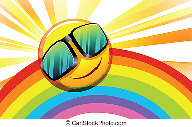 Illustration of a rainbow with a smiling sun on a white background