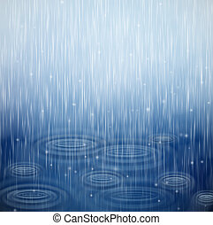 A rainy day - Background with rain and waves on the drops. ...