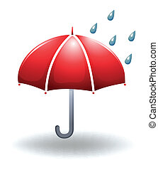A rainy weather - Illustration of a rainy weather on a white...