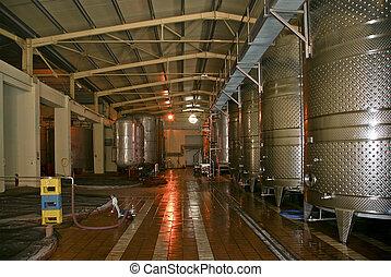 a, rang, de, fermenters, intérieur, a, moderne, établissement vinicole