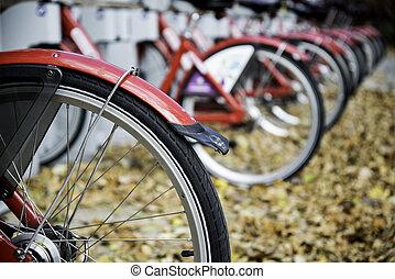 a, rang, de, garé, bicycles
