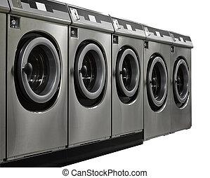 a, rang, de, industriel, machines laver, dans, a, public,...