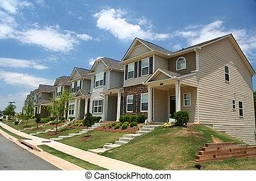 a, rang, de, nouveau, townhomes, ou, condominiums